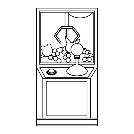 claw arcade machine icon over white background, vector illustration