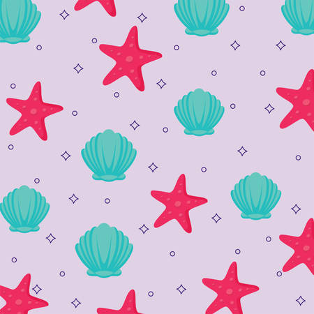 background of Seashells and Sea Stars pattern, colorful design. vector illustration Illustration