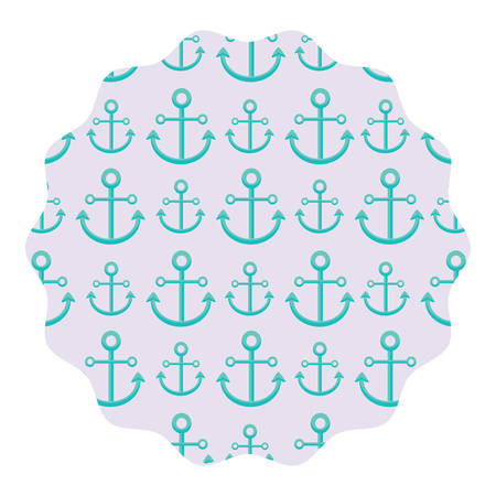 circular frame with anchors pattern over white background, vector illustration Ilustrace