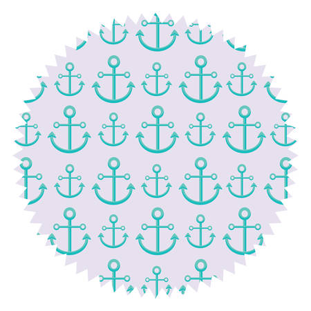 Seal stamp with anchors pattern over white background, colorful design. Vector illustration