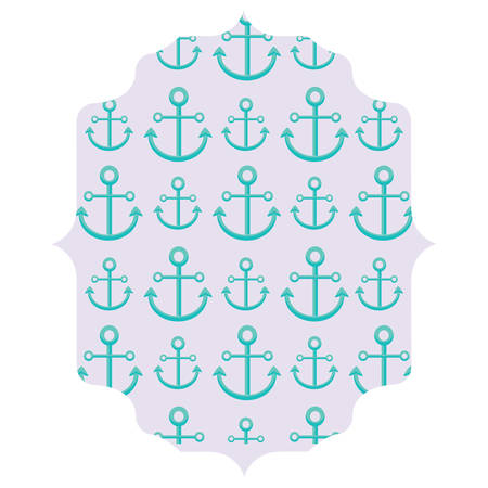 Arabic frame with anchors pattern over white background, colorful design. Vector illustration