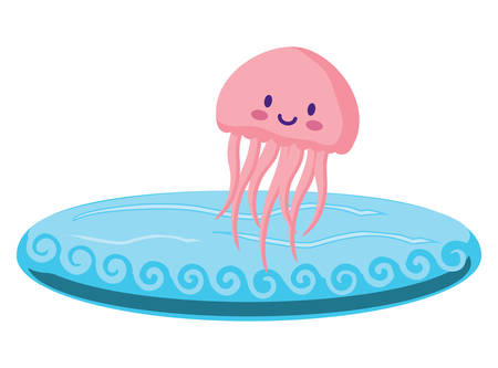 Cute jellyfish over white background, vector illustration