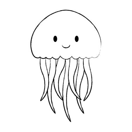 cute jellyfish over white background, vector illustration Ilustração
