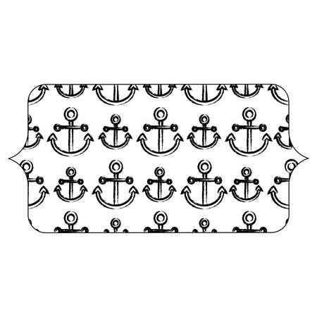 banner with anchors pattern over white background, vector illustration