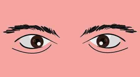 eyes of man over pink background, colorful design. vector illustration Illustration