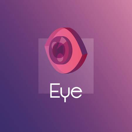 colorful design with isometric eye icon over purple background, vetor illustration