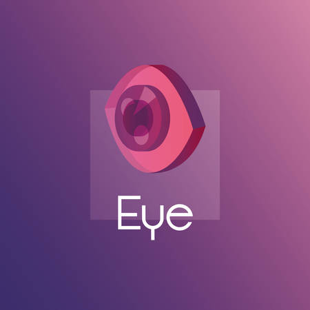 colorful design with isometric eye icon over purple background, vetor illustration