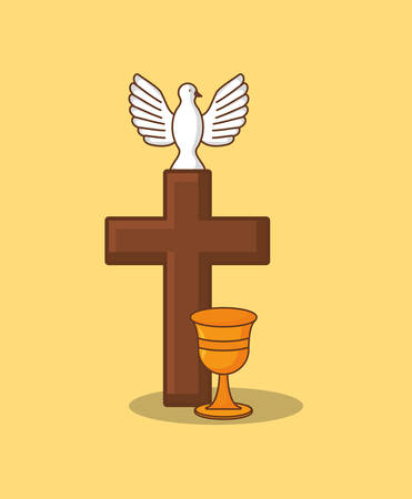 Religious cross with dove and holy grail over yellow background, colorful design. vector illustration Vettoriali