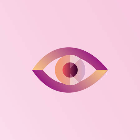 An eye icon over pink background, colorful design.