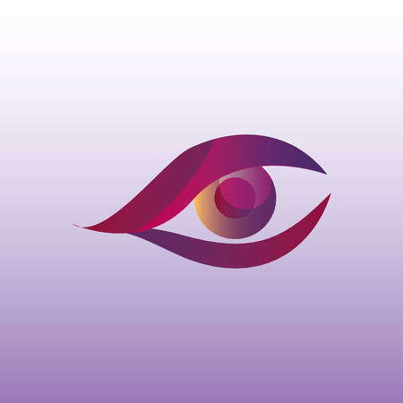 An eye icon over purple background, colorful design.