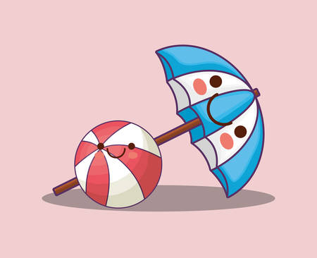 kawaii pool ball and beach parasol over pink background, colorful design. vector illustration Illustration