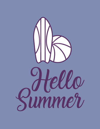 Hello summer design with surfboard and beach ball over purple background, colorful line design. vector illustration Vectores