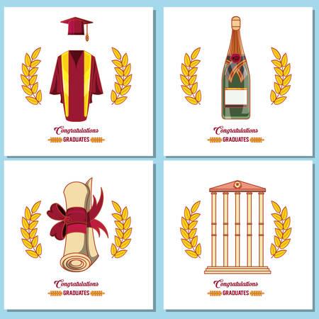 celebration graduation card set icons vector illustration design