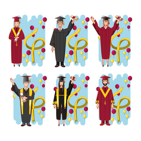 group of students graduated characters vector illustration design  イラスト・ベクター素材