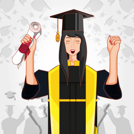 woman graduted with nuform character vector illustration design