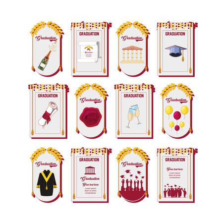 Celebration graduation card set icons vector illustration design Illustration