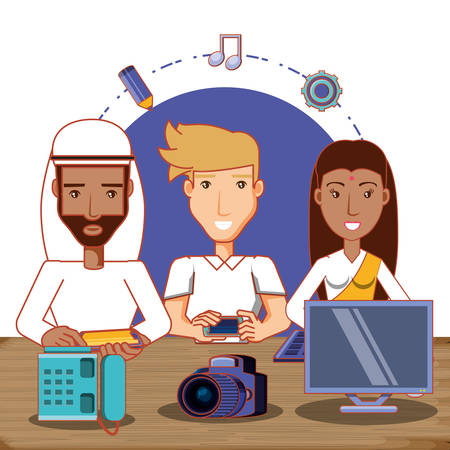 People of different ethnic groups with social media icons vector illustration design Illustration