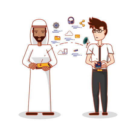 People of different ethnic groups with social media icons vector illustration design 矢量图像