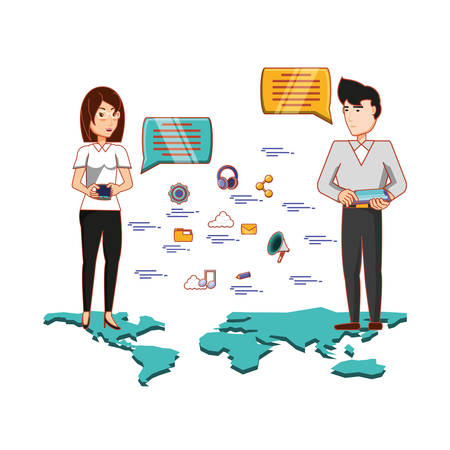 Business couple with social media icons vector illustration design Vettoriali