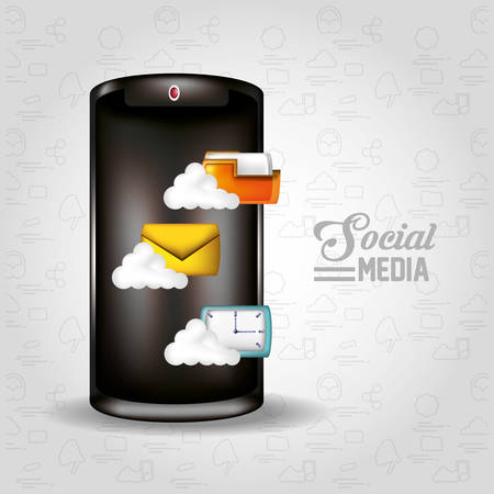 smartphone with social media icons vector illustration design Vettoriali