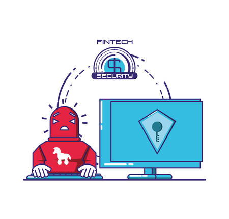 desktop computer with financial technology security vector illustration design