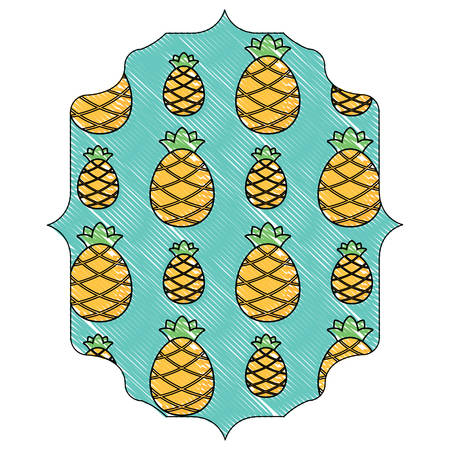 Arabic frame with pineapples pattern over white background, vector illustration