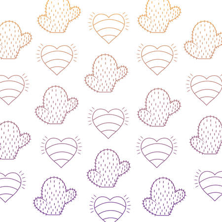 background of hearts and cactus pattern, vector illustration