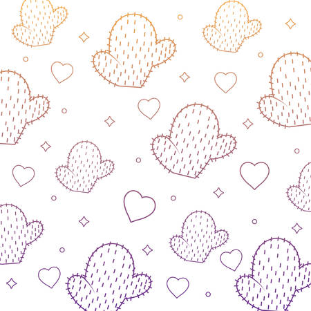 background of cactus and heart pattern, vector illustration