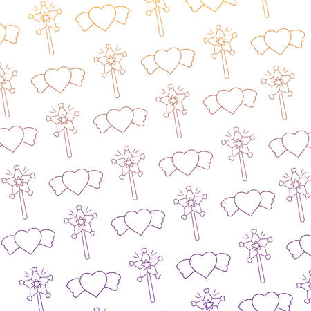 background of magic wands and hearts pattern, vector illustration