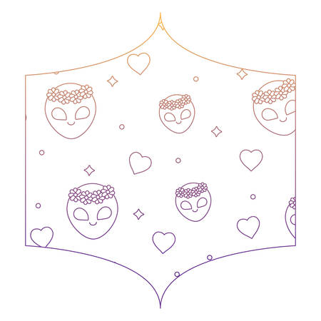 Decorative frame with alien and hearts pattern over white background, vector illustration