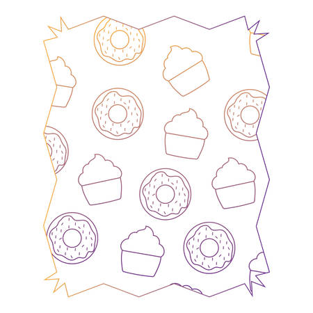 Abstract frame with donuts and muffins pattern over white background, vector illustration