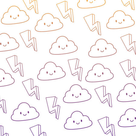 background of kawaii clouds and thunders pattern, vector illustration