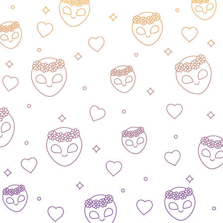 background of alien and hearts pattern, vector illustration Ilustrace