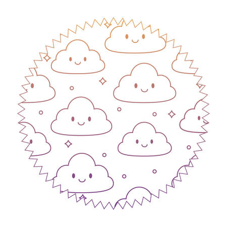 seal stamp with kawaii clouds pattern over white background, vector illustration