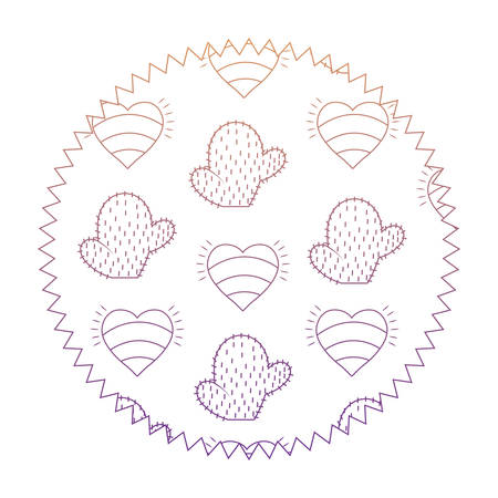 seal stamp with hearts and cactus pattern, vector illustration