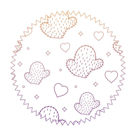 Seal stamp with cactus and heart pattern over white background, vector illustration Illustration