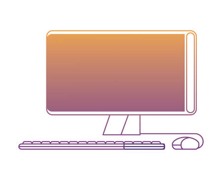 computer icon over white background, colorful design. vector illustration