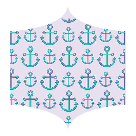 decorative frame with anchors pattern over white background, colorful design. vector illustration
