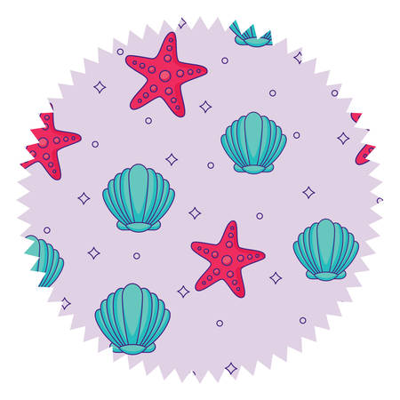 seal stamp with seashells and sea stars pattern over white background, vector illustration