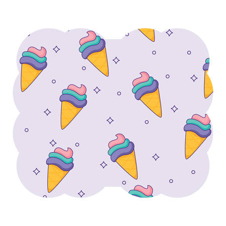 Decorative frame with ice cream cones pattern over white background, colorful design. vector illustration