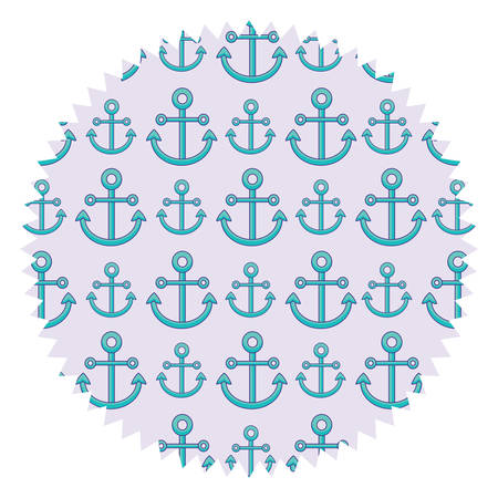 Seal stamp with anchors pattern over white background, colord design. vector illustration