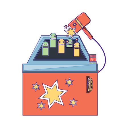 Hammer arcade machine icon over white background, vector illustration