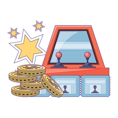 Arcade machine and coins over white background, vector illustration