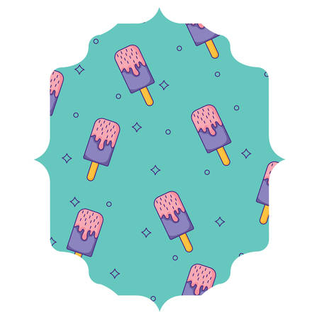 Arabic frame with ice cream bar pattern over white background, colorful design. vector illustration