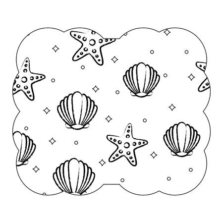 Decorative frame with seashells and sea stars pattern over white background, vector illustration  イラスト・ベクター素材