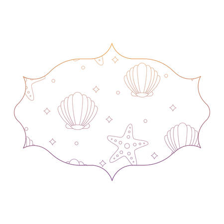 arabic frame with seashell and sea stars pattern over white background, vector illustration