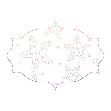 arabic frame with sea stars pattern over white background, vector illustration  イラスト・ベクター素材