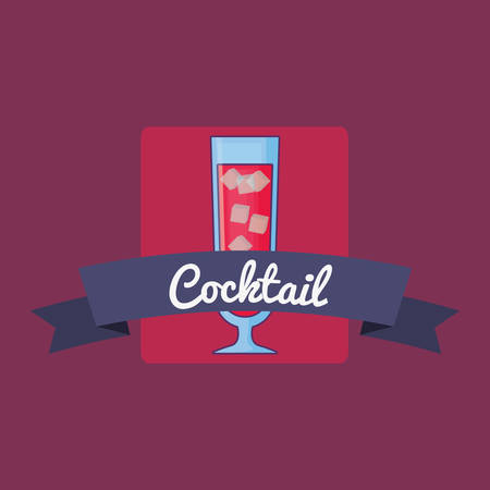 emblem with cocktail drink icon and decorative ribbon over purple background, colorful design. vector illustration 일러스트