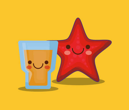 sea star and orange juice over yellow background, colorful design. vector illustration Vectores
