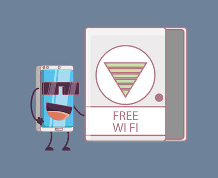 cartoon smartphone on free wifi zone over blue background, colorful design. vector illustration